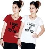 Xarans Printed Women's V-neck White, Red...
