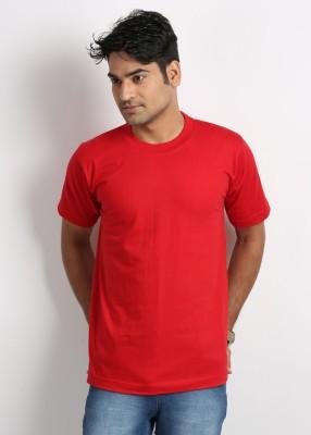 Weardo Solid Men's Round Neck Red T-Shirt