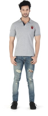 Kkoir Embroidered, Solid Men's Polo Grey T-Shirt