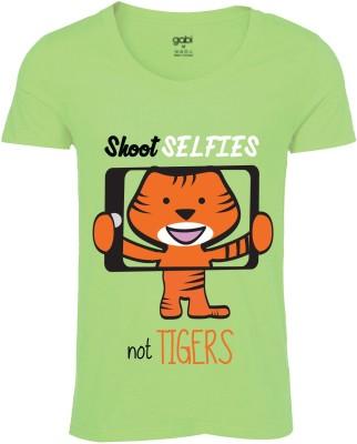 Gabi Graphic Print Men's Round Neck Green T-Shirt