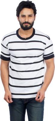 V3Squared Striped Men's Round Neck White, Black T-Shirt