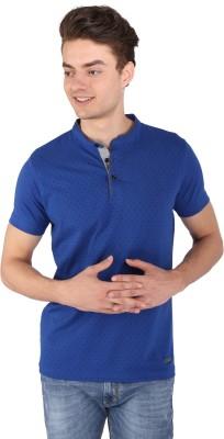 Caricature Solid Men's Round Neck Blue T-Shirt