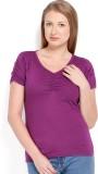 Espresso Solid Women's V-neck Purple T-S...