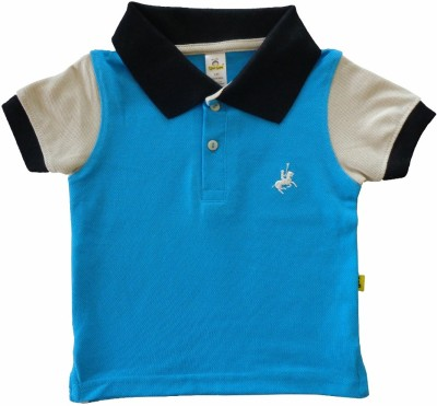 Tiny Bee Embroidered Baby Boy,s Polo Neck Blue T-Shirt