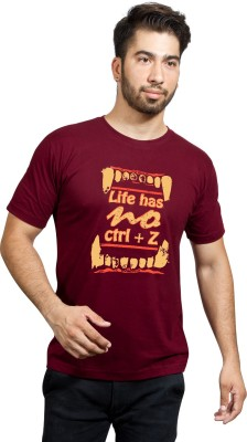 Phashion Town Printed Men's Round Neck Maroon T-Shirt