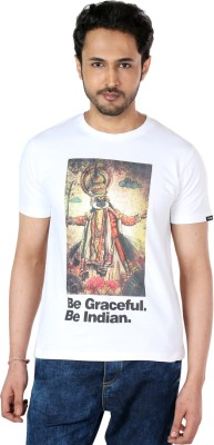 The Indian Graphic Print Men's Round Neck White T-Shirt