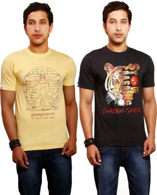 Yaari V4c Printed Men's Round Neck Black, Yellow T-Shirt