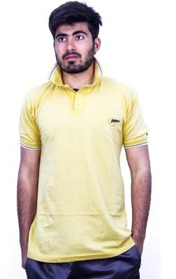 Khaiber Solid Men's Peter Pan Collar Yellow T-Shirt