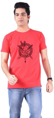 Acasual Wear Printed Men's Round Neck Red T-Shirt
