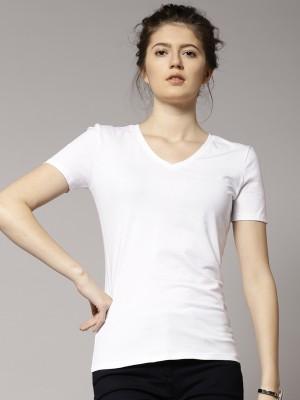 Marks & Spencer Solid Women's V-neck White T-Shirt