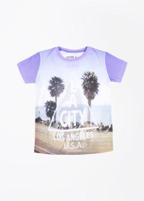 Status Quo Cubs Printed Boy's Round Neck Purple, White T-Shirt