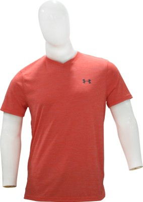 Under Armour Solid Men's V-neck Orange T-Shirt