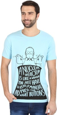 Simpsons Graphic Print Men's Round Neck Blue T-Shirt