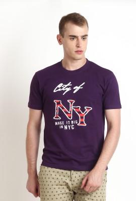 Teen Tees Graphic Print Men,s Round Neck Purple, White T-Shirt