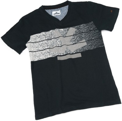 WROGN Printed Boy's V-neck Black T-Shirt