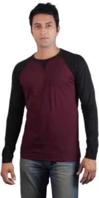 Vagga Solid Men's Round Neck Maroon, Black T-Shirt