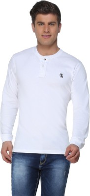 The Cotton Company Solid Men's Henley White T-Shirt