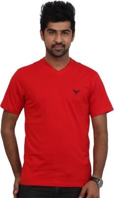 Police Solid Men's V-neck Red T-Shirt