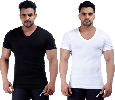 Male Basics Solid Men's V-neck Black, White T-Shirt