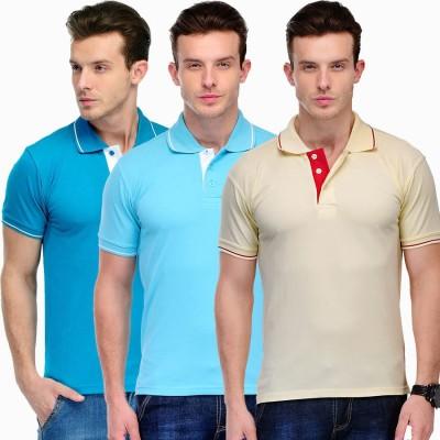 Scott International Solid Men's Polo Light Blue, Yellow, Blue T-Shirt