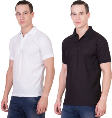 Randier Solid Men's Polo Neck Black, White T-Shirt