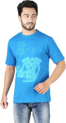 CHECKERSBAY Printed Men's Round Neck Blue T-Shirt