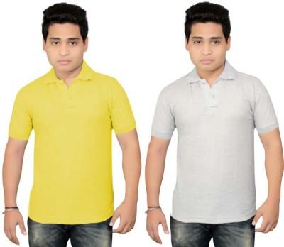 BrandTrendz Solid Men's Polo Neck Yellow, Grey T-Shirt