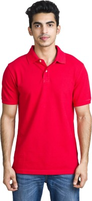 Bhane Solid Men's Flap Collar Neck Red T-Shirt