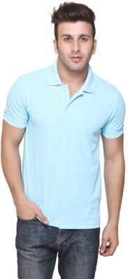 Burdy Solid Men's Polo Neck Blue T-Shirt