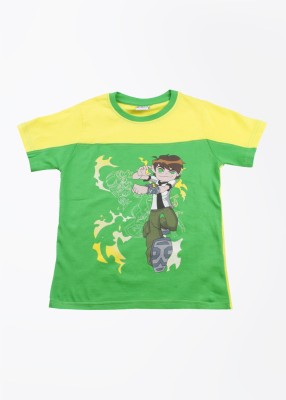 Cherish Printed Boy,s Round Neck Green, Yellow T-Shirt