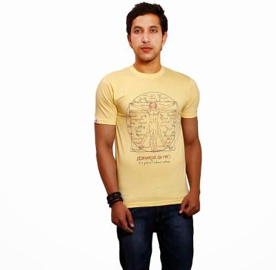 Yaari V4c Self Design Men's Round Neck Yellow T-Shirt