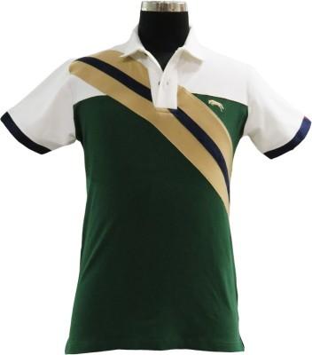 JUMP USA Striped Men's Polo Neck White, Green T-Shirt