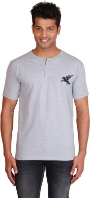 Right Shape Solid Men's Henley Grey T-Shirt