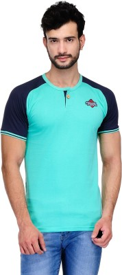 Ausy Solid Men's Round Neck Light Blue T-Shirt