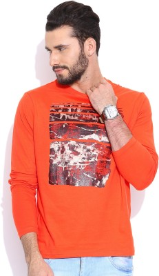 Sera Printed Men's Round Neck Orange T-Shirt