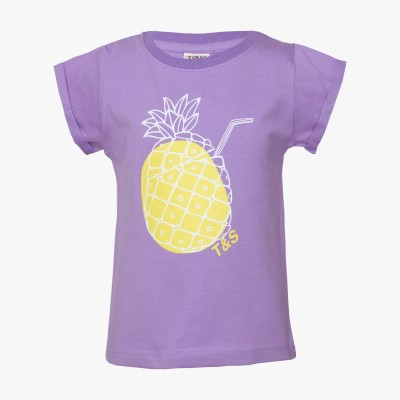 Tales & Stories Graphic Print Girl's Round Neck Purple T-Shirt