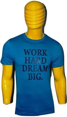 Kavin Printed Men's Round Neck Blue T-Shirt