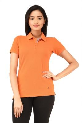 TSG Bliss Solid Women's Polo Neck Orange T-Shirt