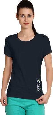 Yogaandsportswear Printed Women's Round Neck Dark Blue T-Shirt