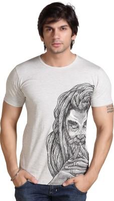 Maxzone Printed Men's Round Neck Grey T-Shirt