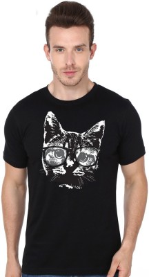 Madink Animal Print Men's Round Neck Black T-Shirt