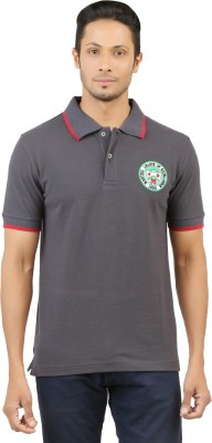 Menthol Solid, Embroidered, Applique Men's Polo Neck Grey T-Shirt