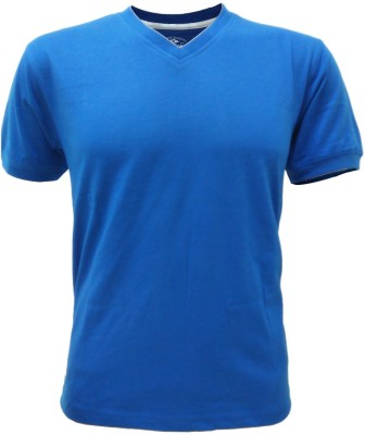 Groviano Solid Men's V-neck Blue T-Shirt