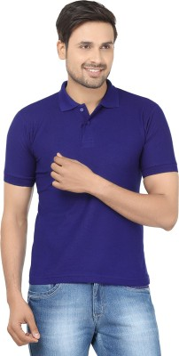 Louis Mode Solid Men's Polo Neck Blue T-Shirt