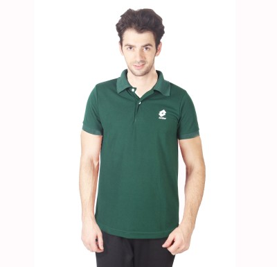 Lotto Solid Men's Polo Green T-Shirt