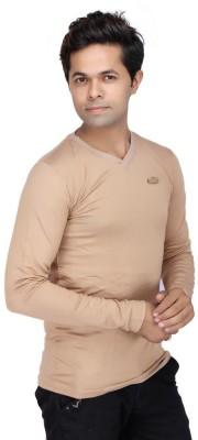 JG FORCEMAN Solid Men's Halter Neck Gold T-Shirt