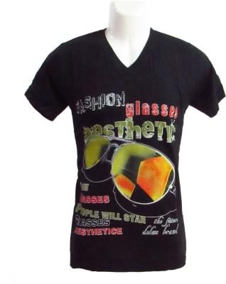 Revinfashions Printed Men's V-neck Black T-Shirt