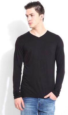 Blackberrys Solid Men's V-neck Black T-Shirt