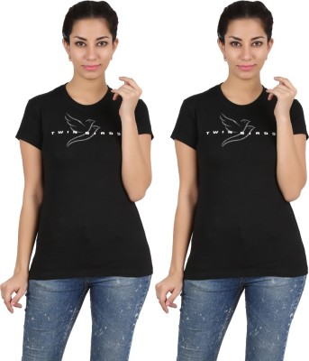 Twin Birds Printed Women's Round Neck Black T-Shirt