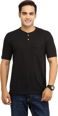 BepoyZ Solid Men's Henley Black T-Shirt
